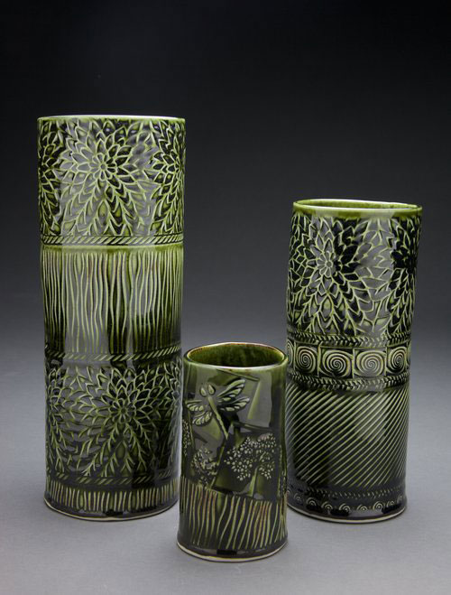 Loren Maron's vases made with BHR rollers, Hr rollers, and Ssl stamps