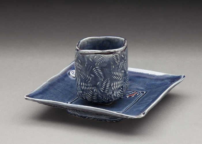 Nancy Zoller's cup and plate set textured with HR-017.
