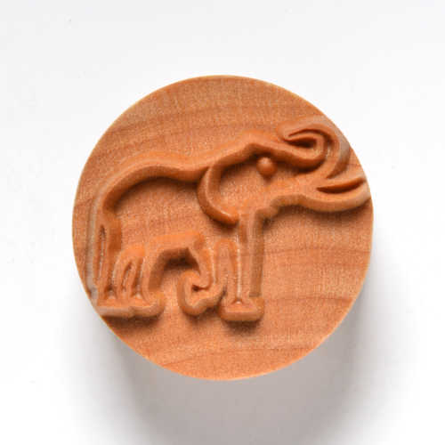 Large Round Elephant Pottery Stamp