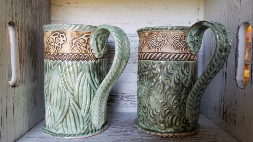 Patti Gettel's mugs with BHR, RM, and FR rollers