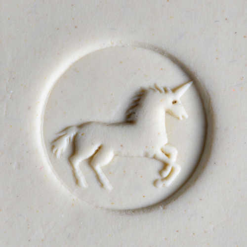 Debossed Unicorn Pottery Stamp